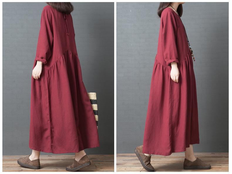 Vintage Solid Color Cotton And Linen Dress