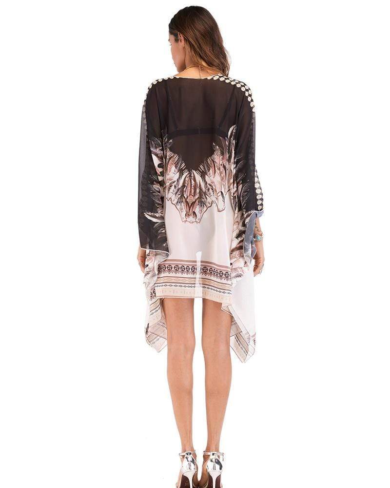 Bohemian Asymmetry Color Chiffon Holiday Cardigan