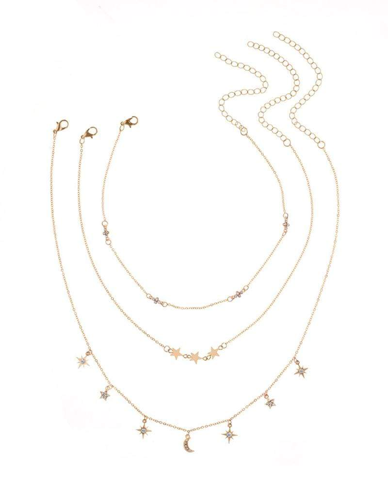 Temperament Sweet and Stylish Moon-Studded Five-Pointed Star Full Diamond  Necklace Set