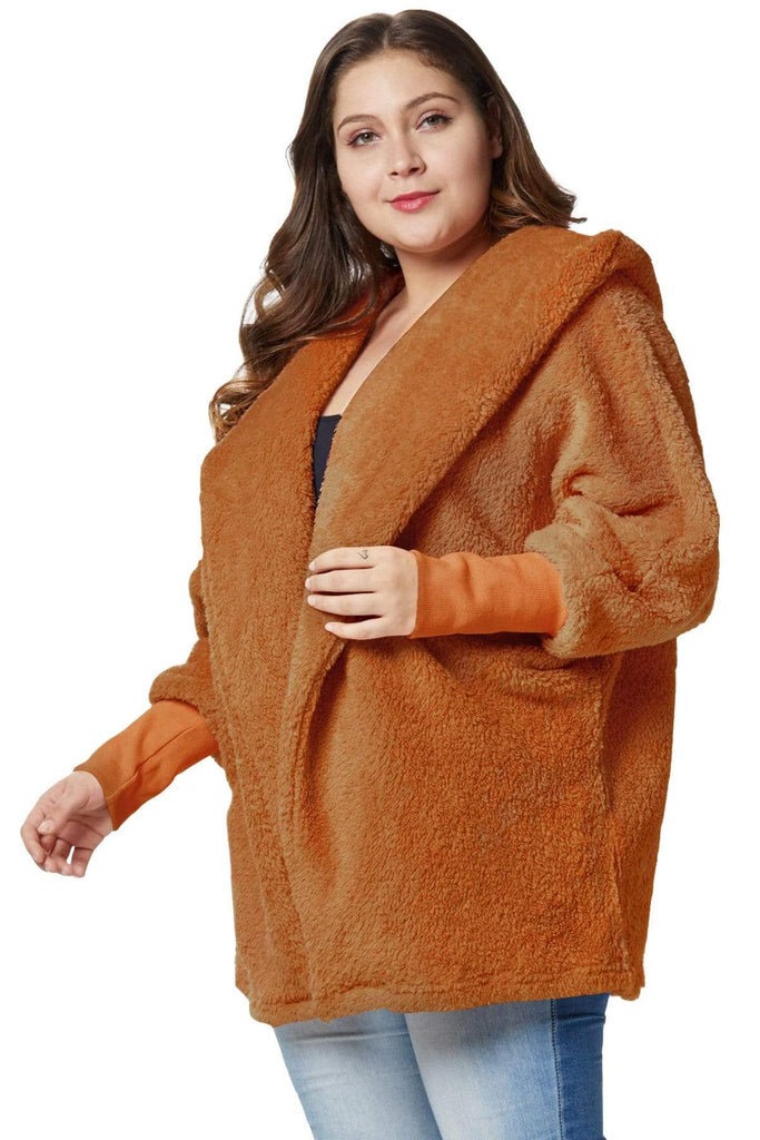 Faux Fur Hooded Plus Size Coat - Exlura