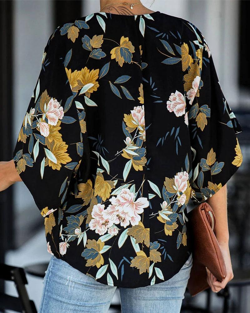 Exlura Floral Printed Tie Knot Front Chiffon Blouses