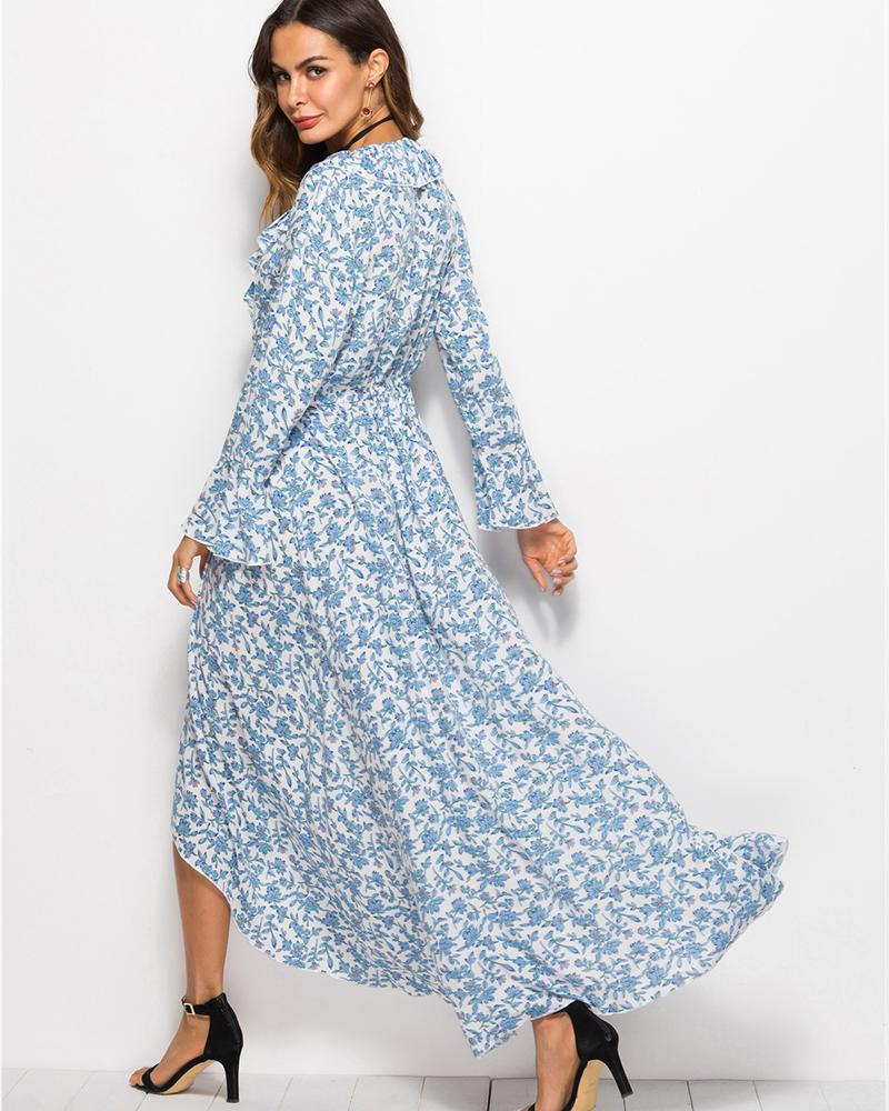 Trumpet Sleeve Waist Print Irregular Ruffled Dress