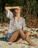 Bohemian Mid-sleeve Loose V-neck Floral Print Dress
