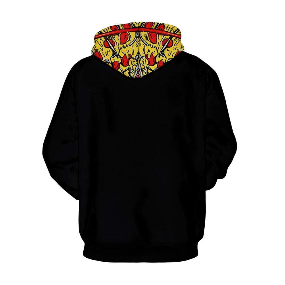 Exlura Unisex Christams 3D  Pizza Print Christmas Hooded Pullover