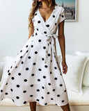 Vintage Polka Dot V Neck Wrap Midi Dress with Belt