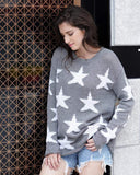 Exlura Star Print Hole Loose Sweater