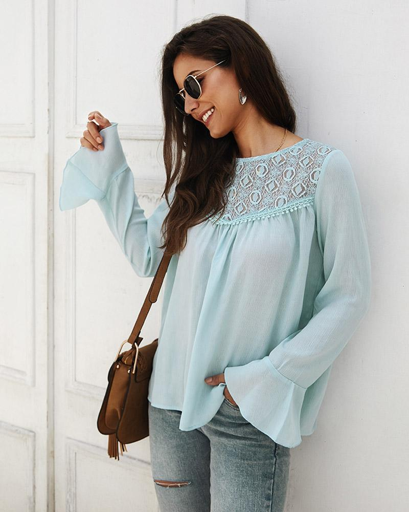 Exlura Lace Splice Chiffon Long-sleeved Shirt