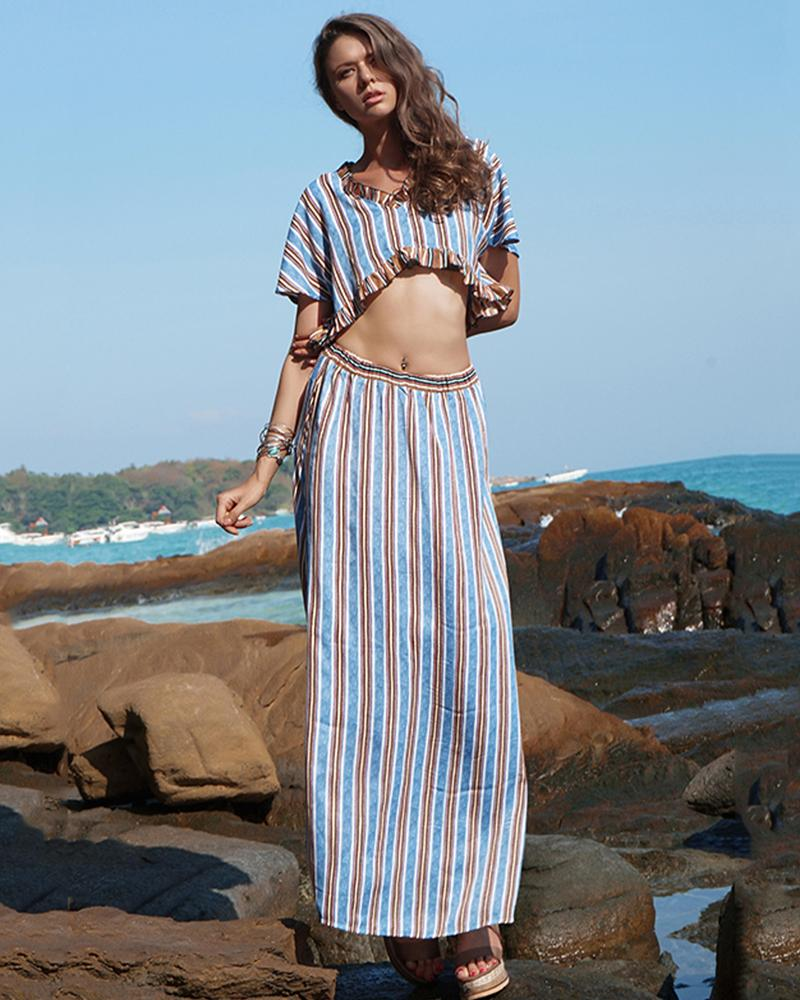 Striped Ruffled Paragraph Navel Short Two-piece Set Beachwear