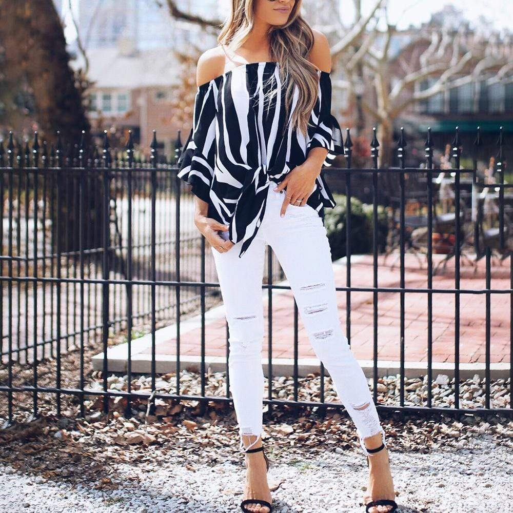 Striped Off Shoulder Bell Sleeve Shirt - Exlura