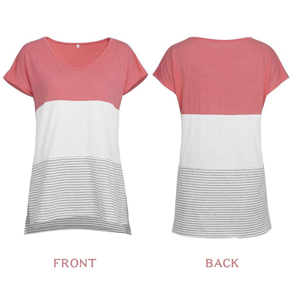 V-Neck Triple Color Block Stripe T-Shirt - Exlura