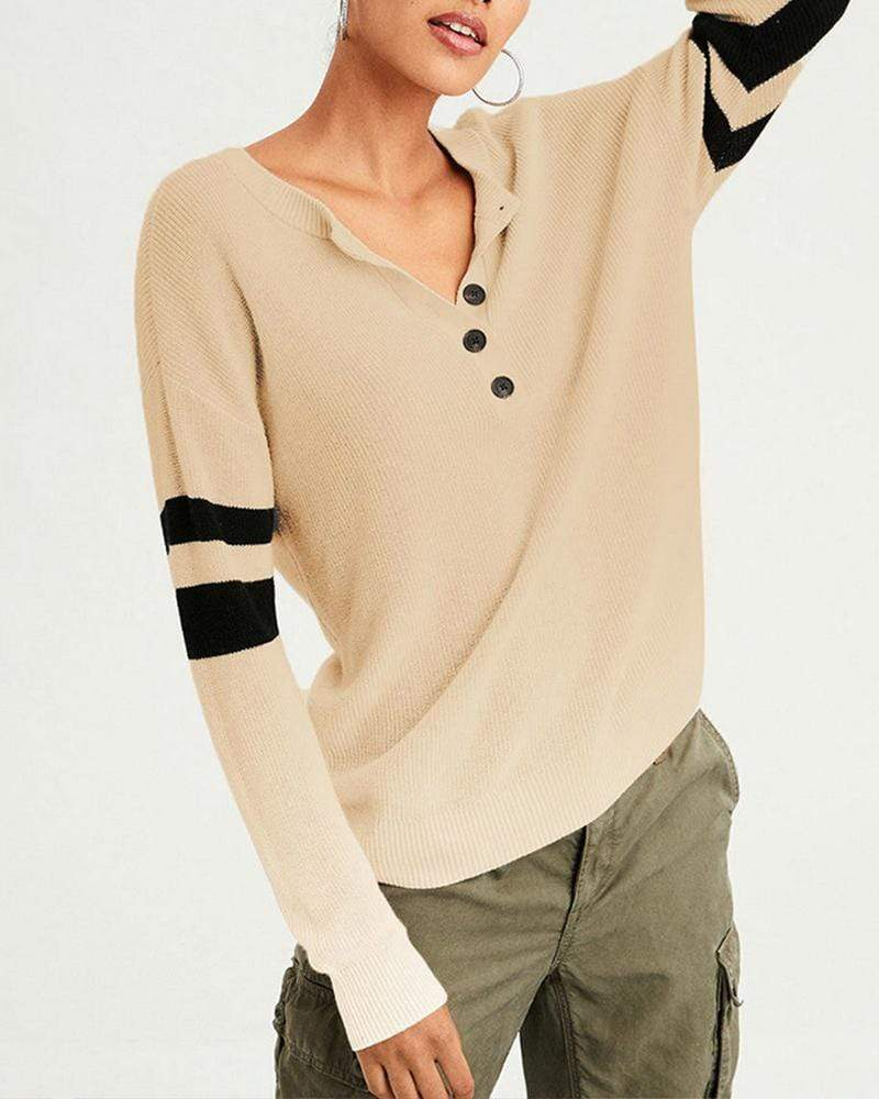 V-Neck Long Sleeve Buttons Knitted Sweater