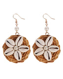 Rattan Handmade Straw Circle Shell Earrings+Necklace Set