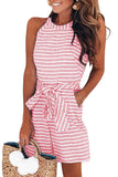 Halter Off Shoulder Stripe Print Lace Jumpsuit