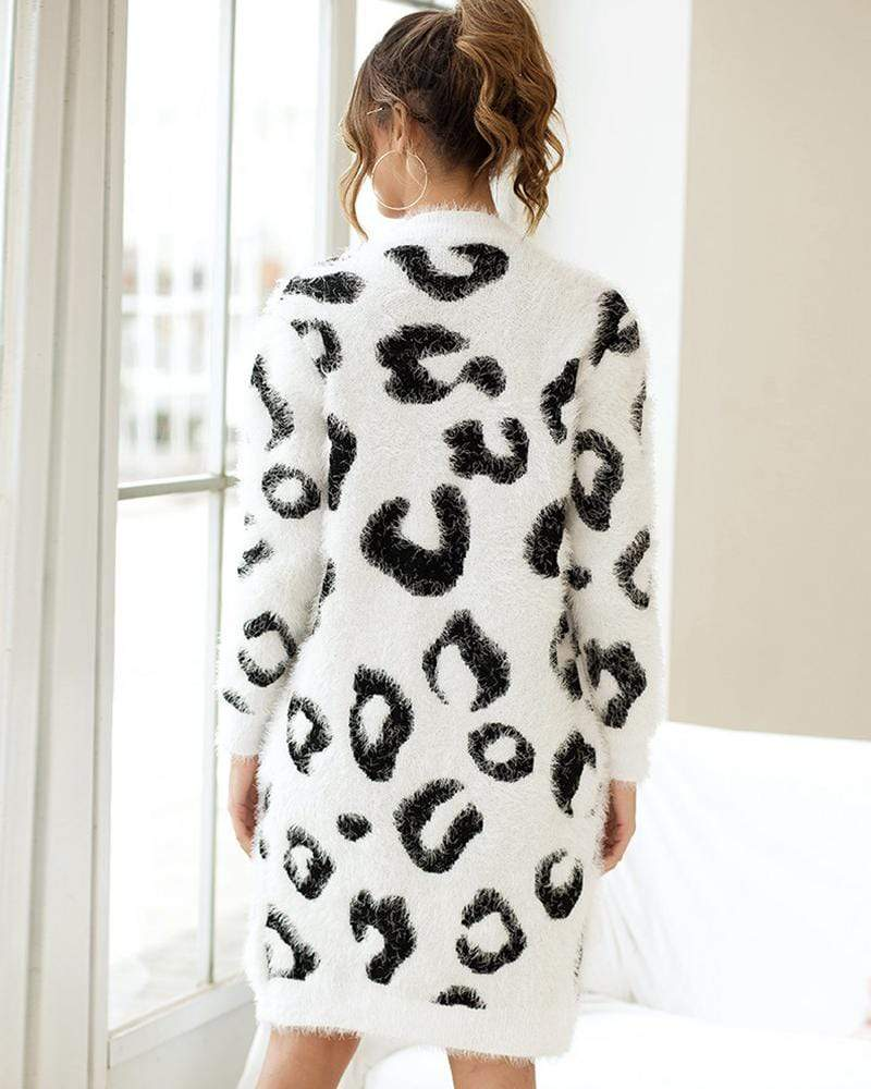 Exlura Leopard Print Long Sleeve Knit Cardigan