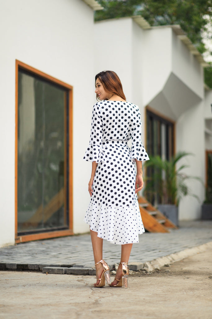 Bohemian V-Neck Dot Irregular Hem Dress