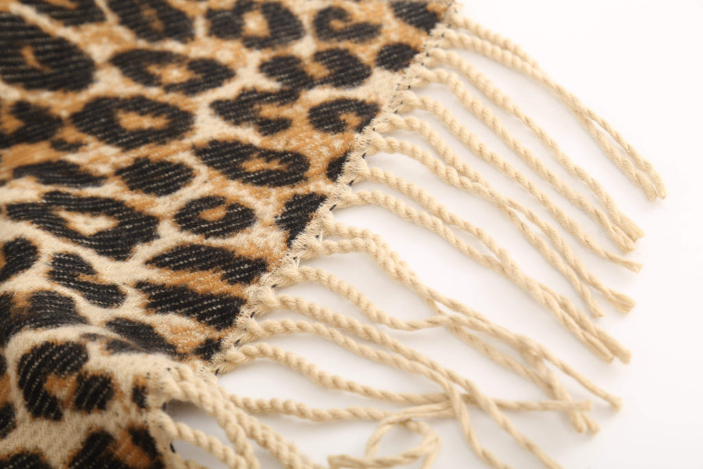 Printed Leopard Faux Cashmere Tassel Scarf