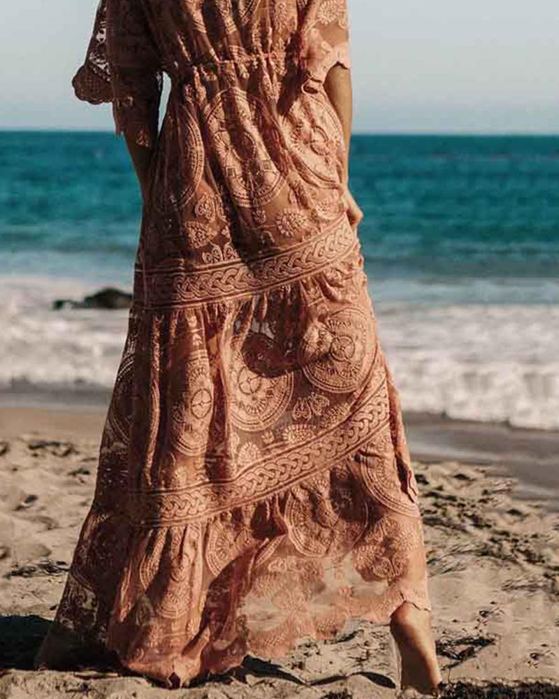 Elastic Waist Big Swing Beach Lace Dress