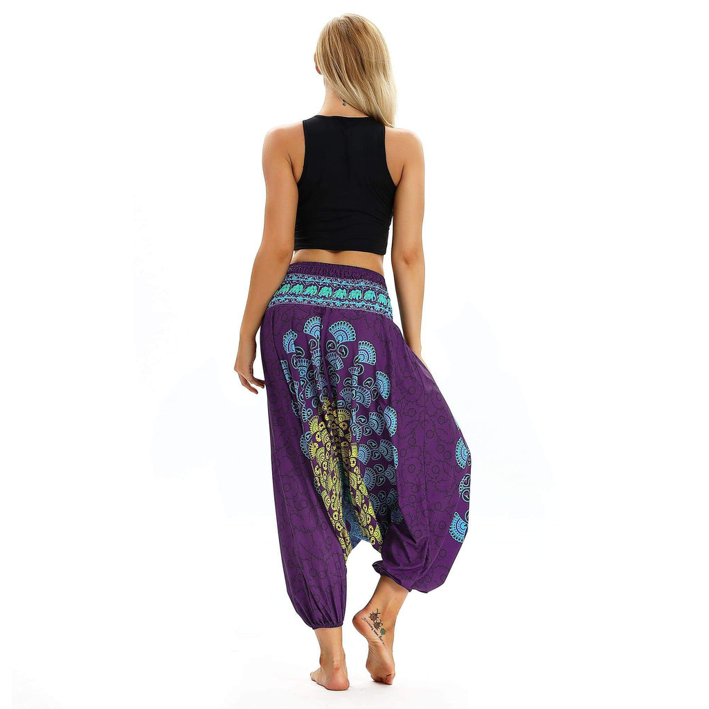 High waist Ethnic Wide-leg Floral Print Bloom Pants