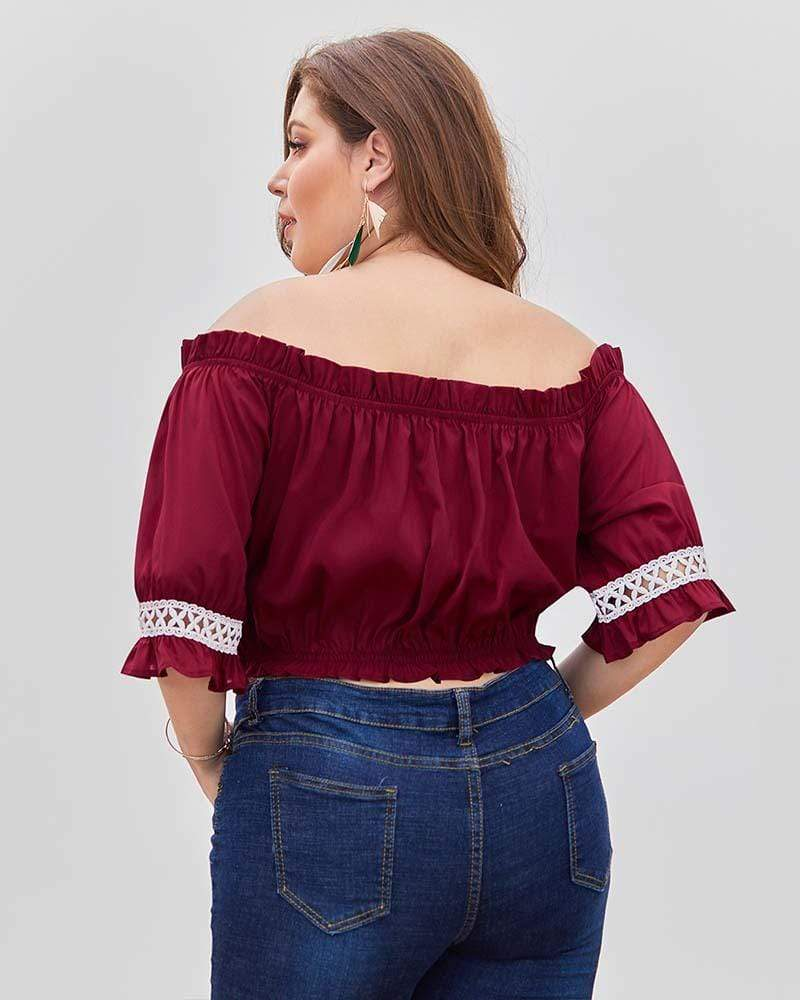 Off Shoulder Lace Stitching Plus Size Wrapped Chest Shirt