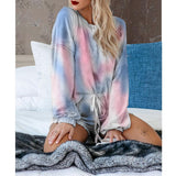 Exlura Womens Short Pajama Set Tie Dye Printed Ruffle Long Sleeve Top and Shorts Sleepwear Nightwear Loungewear PJ Set