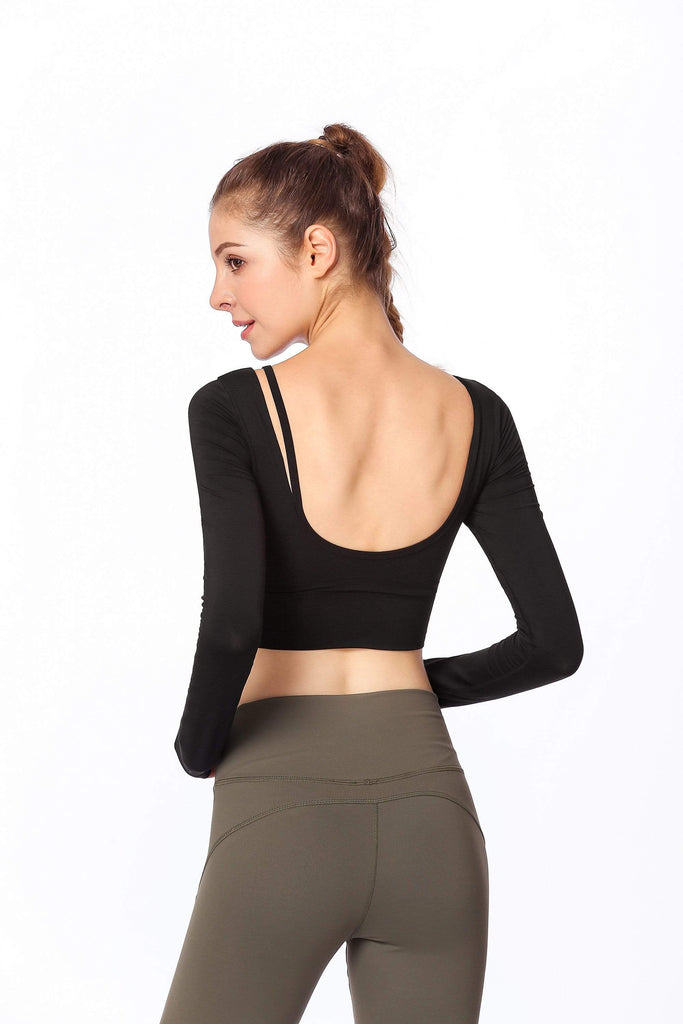 Long Sleeve Open Back  Workout Clothes