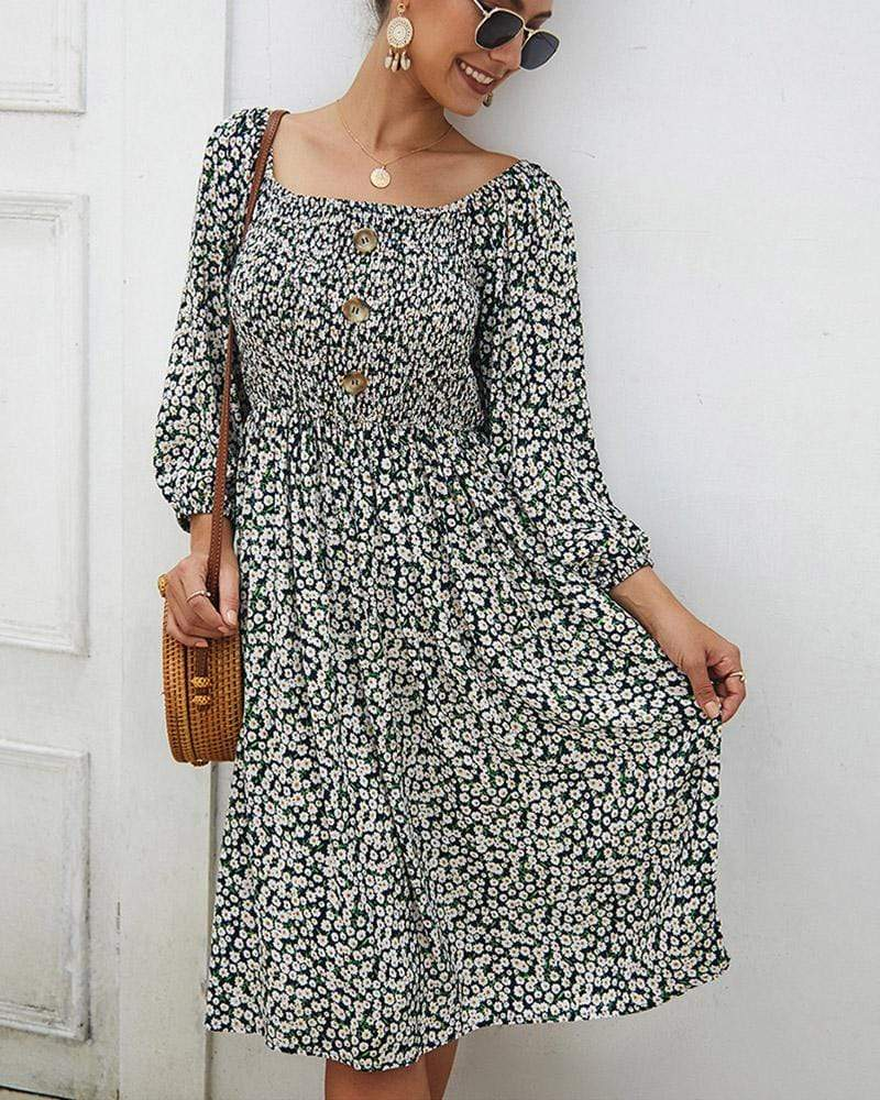 Exlura Square Collar Floral Print Button Dress