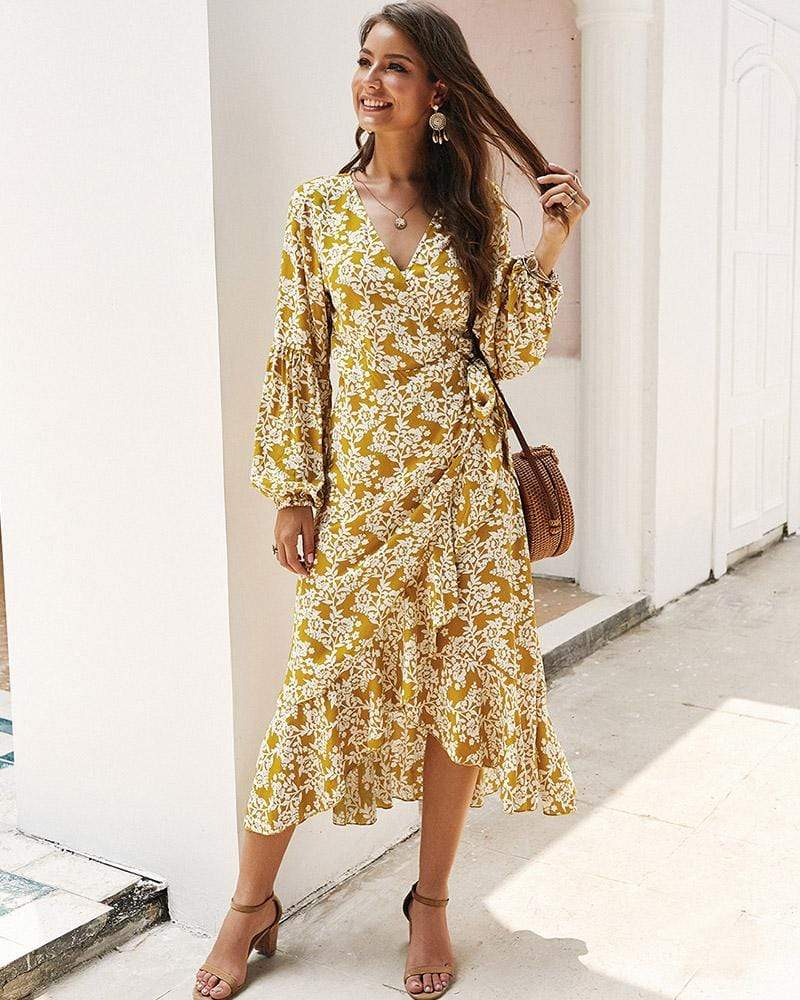 Exlura V-neck Long Sleeve Floral Printed Dress