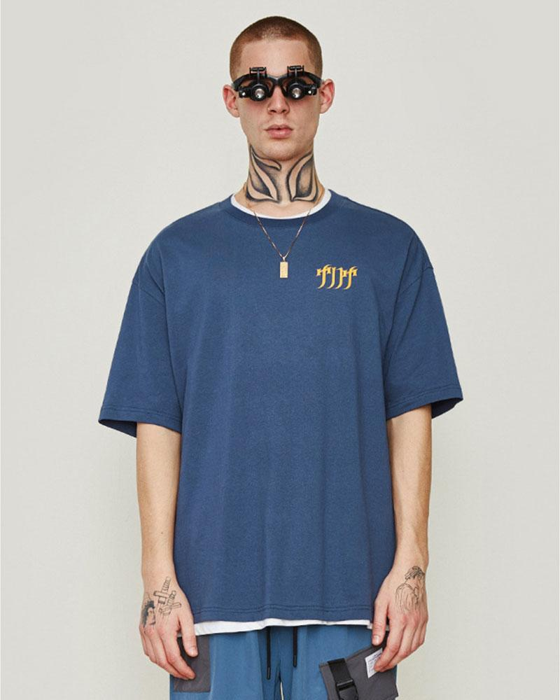 English Print Oversize Short-sleeved T-shirts