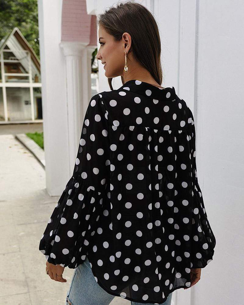 Exlura Polka Dot V Neck Shirt