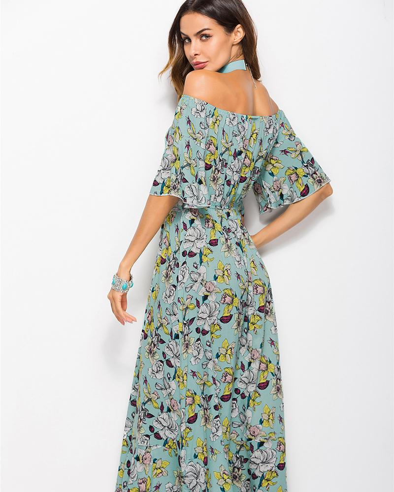 Off The Shoulder Strap Printed Holiday Dress