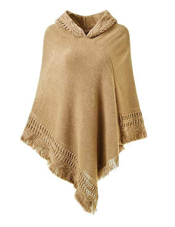 Exlura Crochet Poncho Knitting Hooded Cape with Fringed Hem