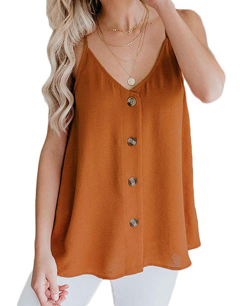 Exlura Women's Casual Button Down V Neck Sleeveless Shirts Blouses Loose Spaghetti Strap Strappy Cami Tank Tops