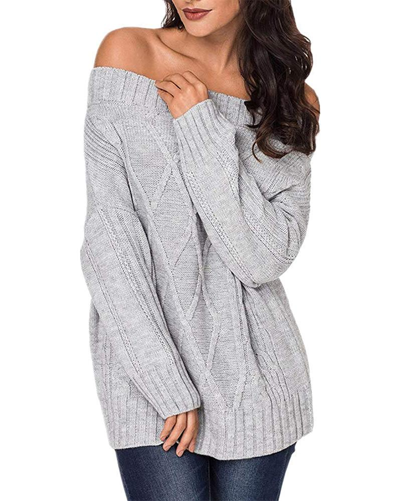 Exlura Women's Sexy Off Shoulder Long Sleeve Loose Cable Knit Pullover Sweater