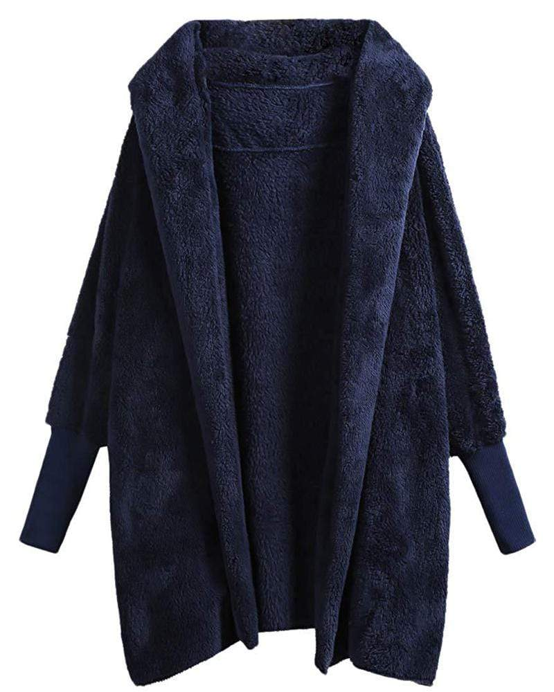 Dolman Sleeve Faux Fur Hooded Cardigan