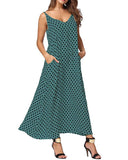 Boho Maxi Slip Dress with Dot Pocket