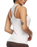 Exlura Womens Cami Tank Tops Criss Cross Lace Back Hollow Out Camisole