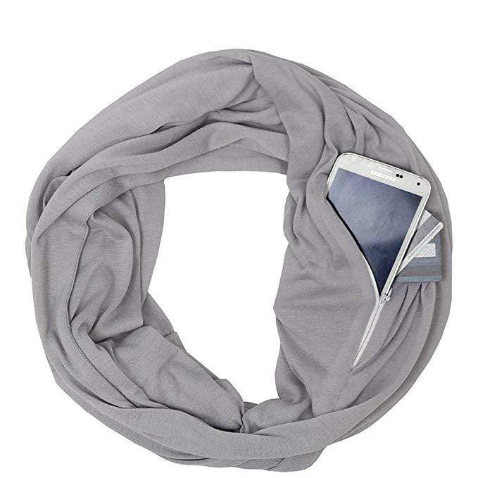 Infinity Scarf with Pocket Stylish Hidden Zipper Pocket