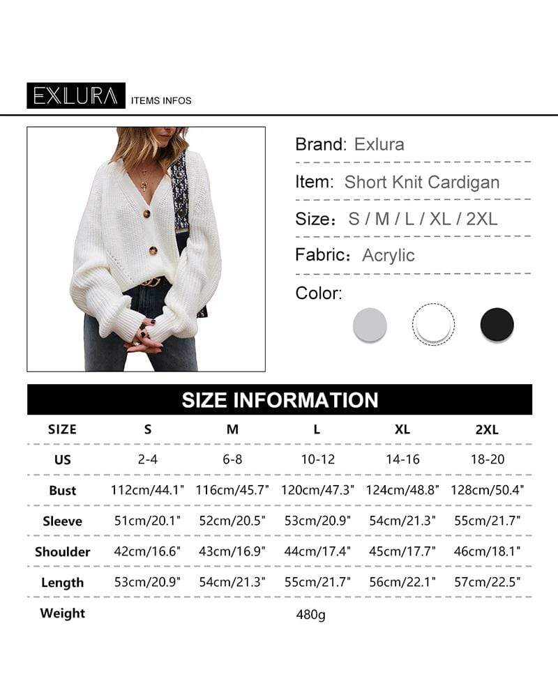 Exlura Women's V Neck Open Front Button Down Cardigan