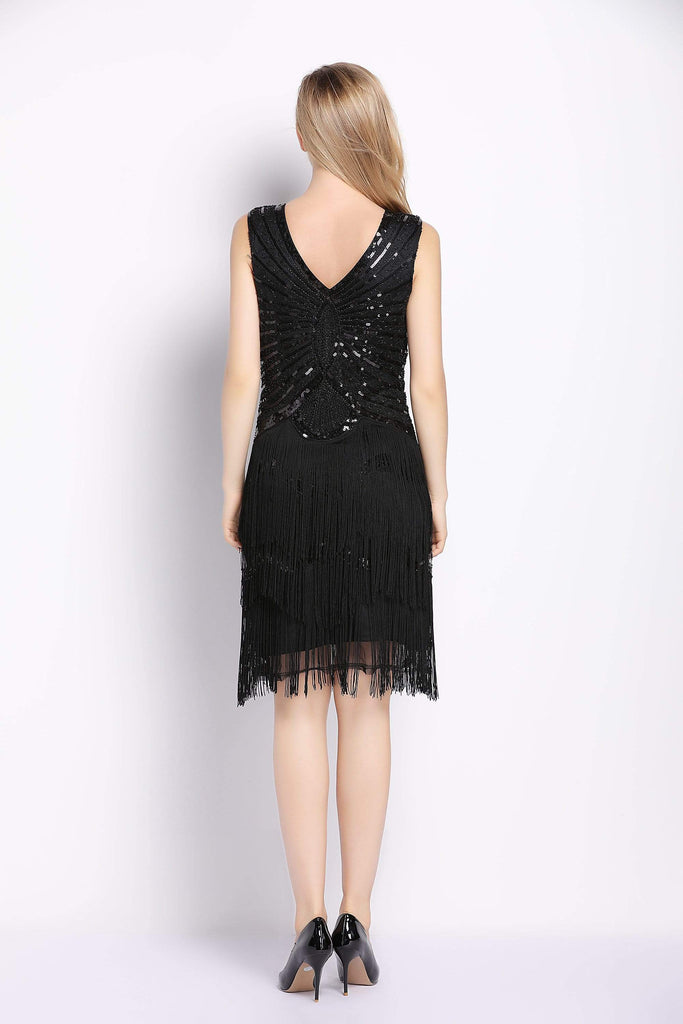 Black Beading Strap Tassel V Neck Backless Dress