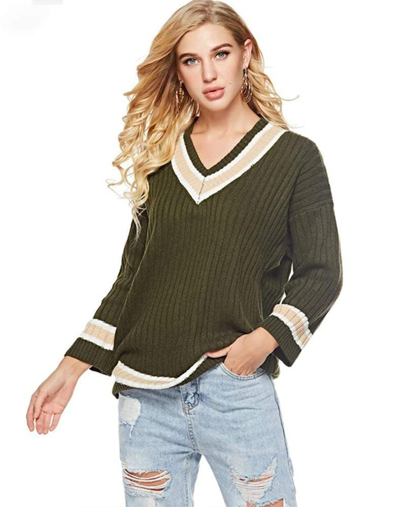 V Neck Knitted Cotton Basic Sweater