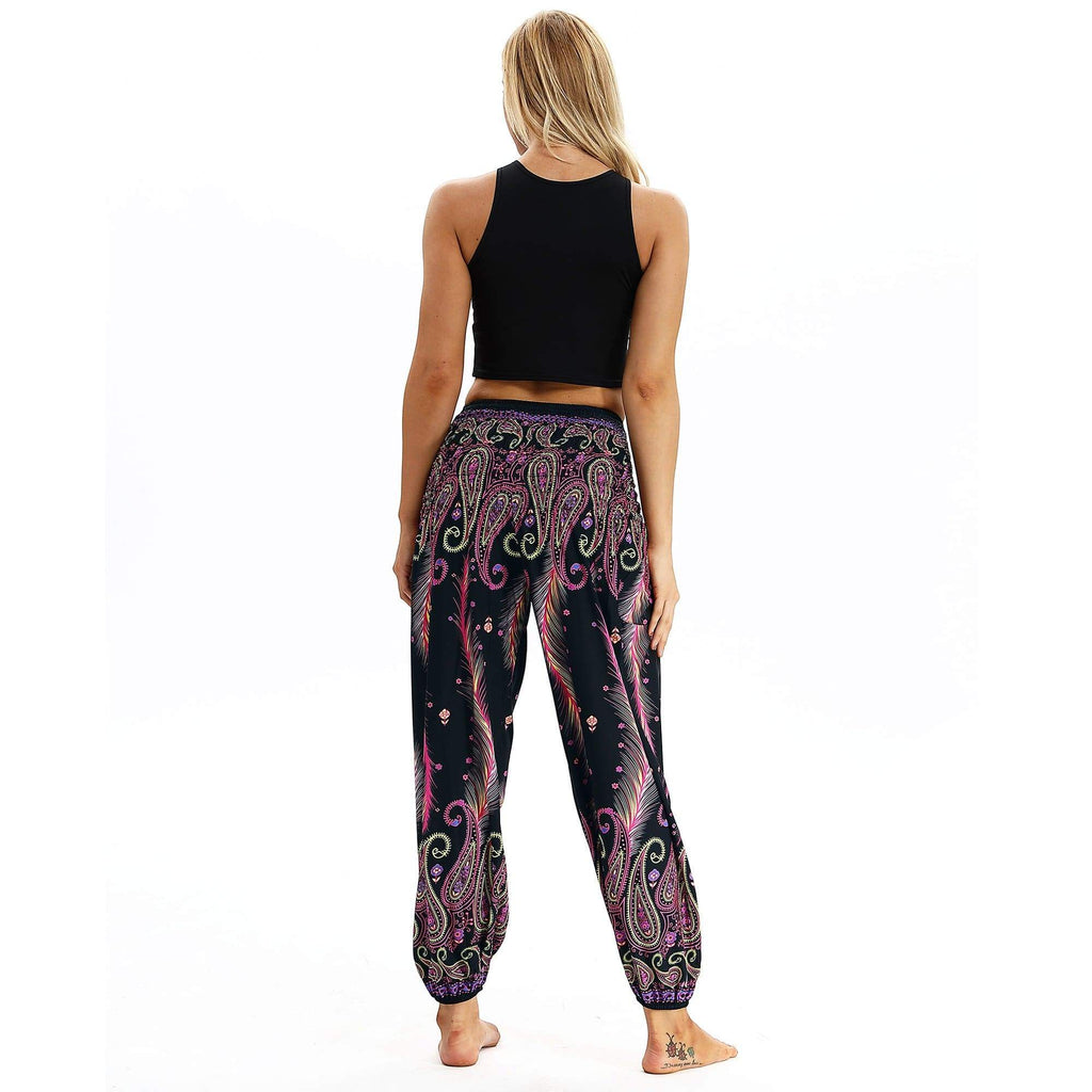 Vintage Floral Print Bloom Holiday Pants