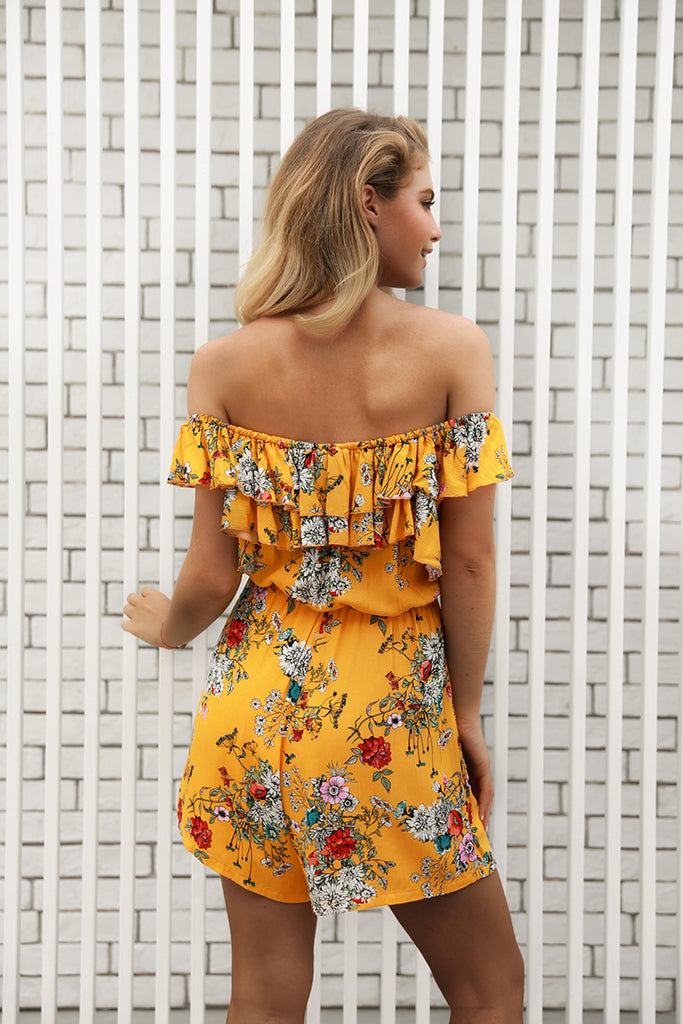 Off Shoulder High Waist Floral Print Short Jumpsuit
