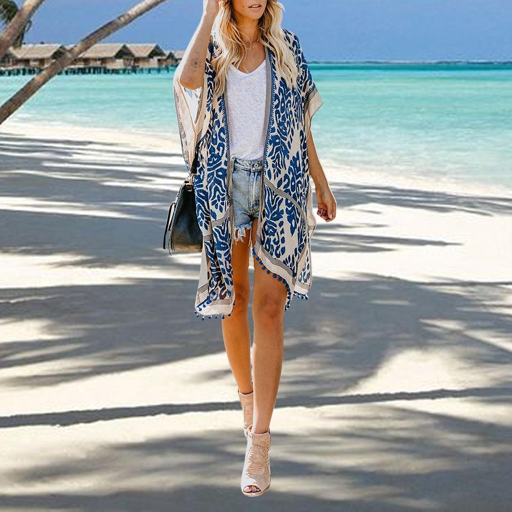 Women's Swimsuit Cover Ups Printed Kimono Cardigans Tassel Casual Loose Beachwear