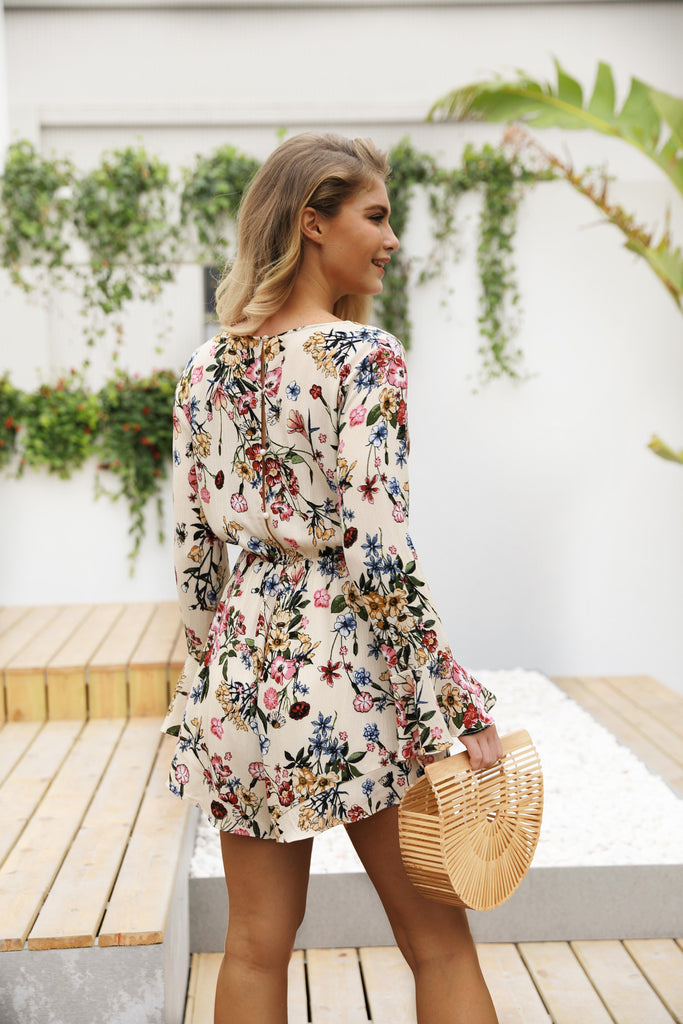 V-neck Print Wide Legs Short Jumpsuit