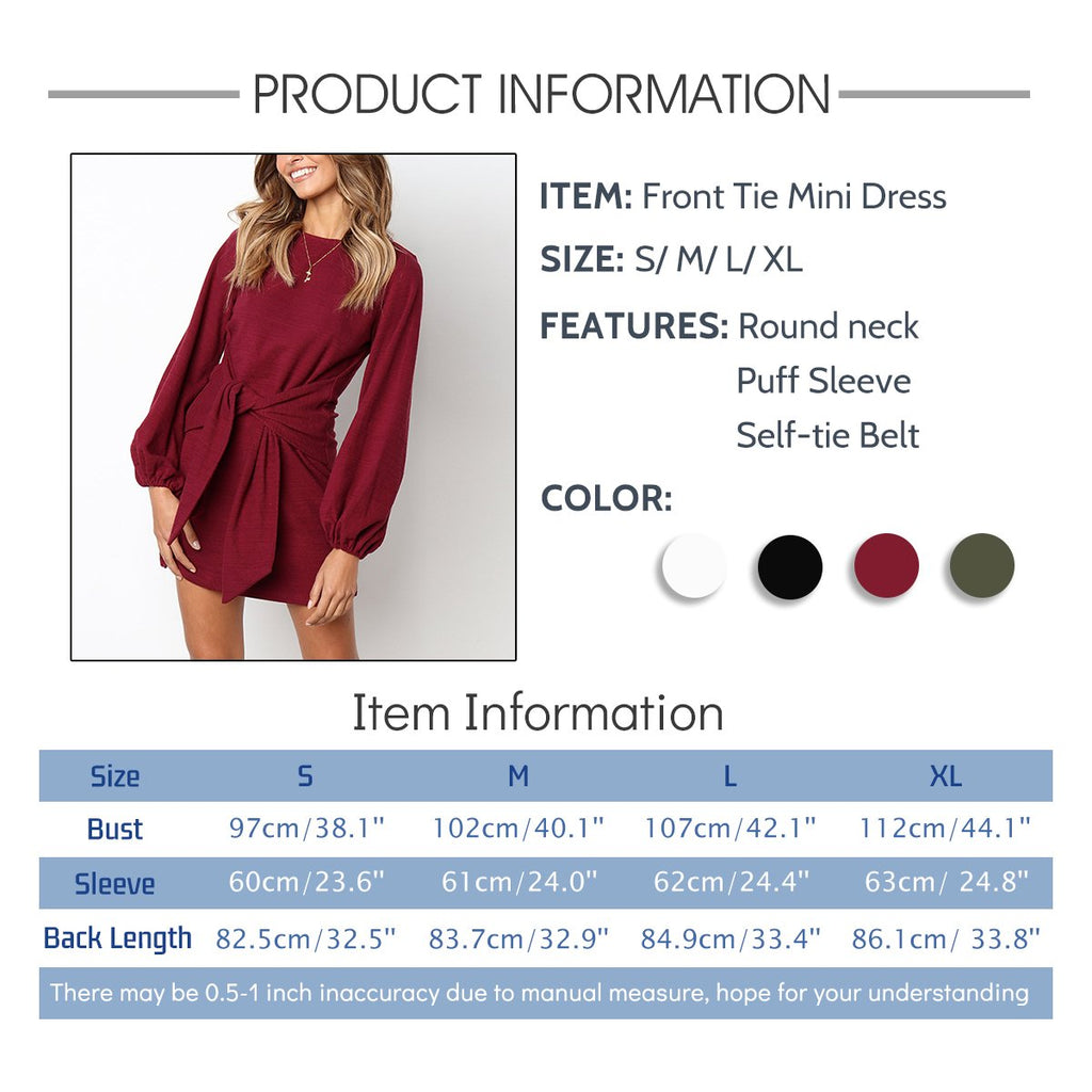 Women's Casual Puff Long Sleeve Pencil Dress Solid Front Tie Bandage Mini Shift Dress