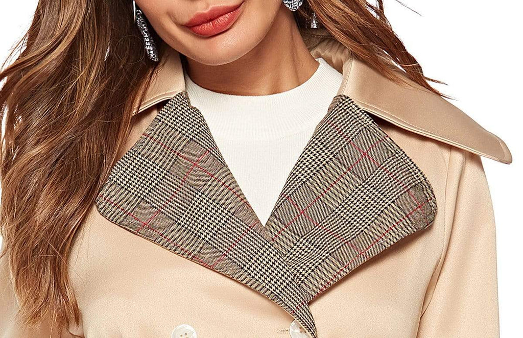 Plaid Turn Down Collar Double Breasted Coat - Exlura