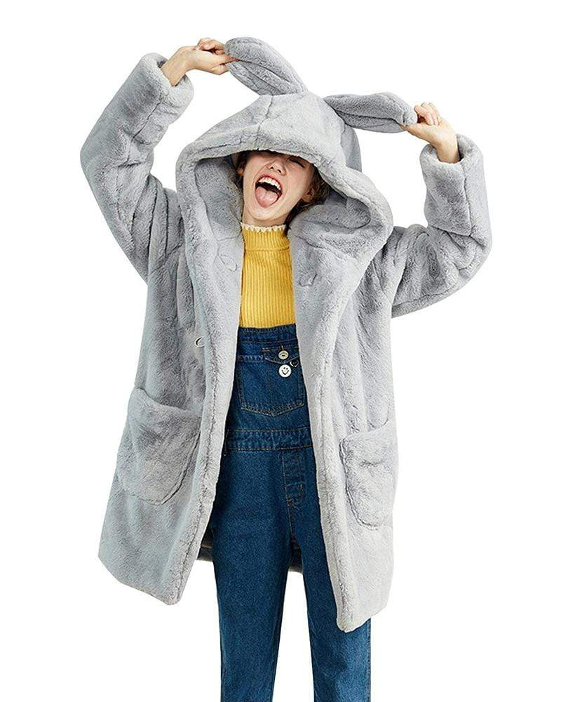 Cute Rabbit Ears Oversized Hooded Faux Fur Teddy Coat