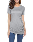Round Neck Loose Tunic T Shirt