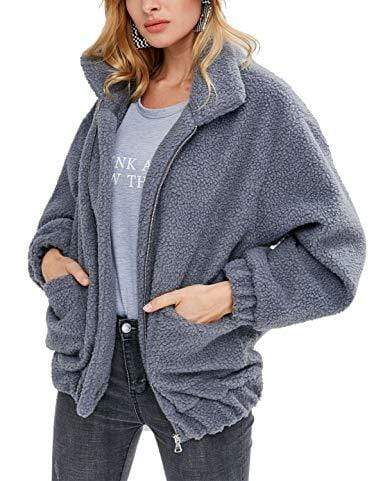 Faux Fur Zip Oversized Coat with Pockets