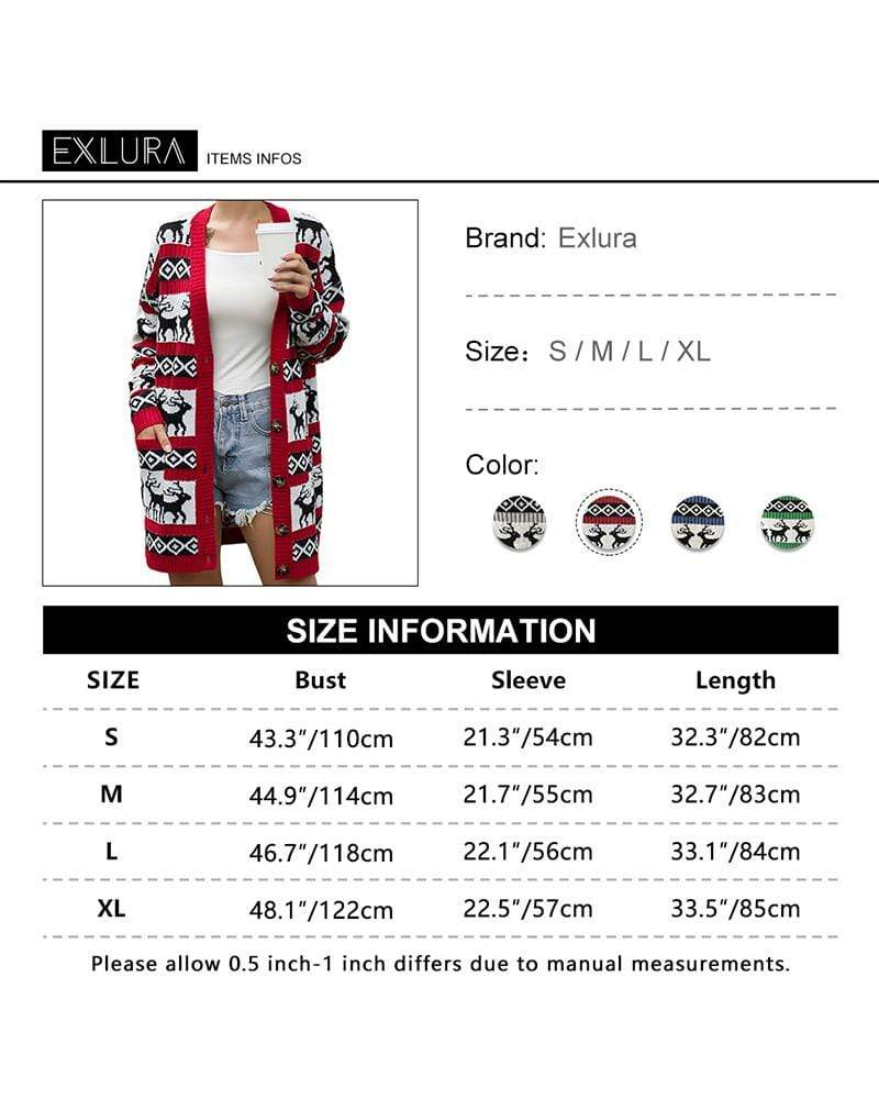 Exlura Christmas Cardigan Open Front Sweaters Button Down Knit Coat